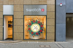 Swatch Store on Kurfuerstendamm. BERLIN - JULY 24: Swatch Store on Kurfuerstendamm. Swatch Group Ltd. designs, manufactures, distributes and sells finished Royalty Free Stock Image