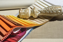 Swatches of fabrics for decoration,. Different colors and textures Royalty Free Stock Photo