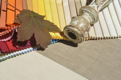 Swatches of fabrics for decoration. Different colors and textures Stock Photo