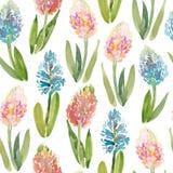 SWatercolor bezszwowy wzór hiacyntowi kwiaty Fotografia Stock