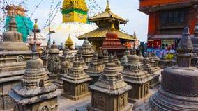 Swayambhu Stupa in Kathmandu, Nepal Affe-Tempel und Gebetsflaggen lunghta Stockfoto