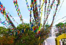 Swayambhu Stupa in Kathmandu, Nepal Affe-Tempel und Gebetsflaggen lunghta Stockbild