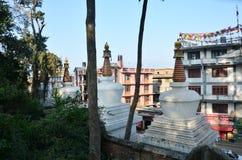 Swayambhunath寺庙或猴子寺庙前面  免版税库存照片