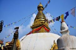 Swayambhunath寺庙或猴子寺庙有菩萨的在加德满都尼泊尔注视 库存图片