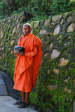 swayambhunath的,加德满都尼泊尔修士 免版税库存照片