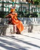 swayambhunath的,加德满都,尼泊尔禁欲主义者 免版税库存图片