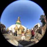 Swayambhunath è un complesso religioso antico in cima ad una collina nel Kathmandu Valley Fotografia Stock