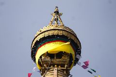 Swayambhunath adorned with prayer flags. One of the oldest proven Buddhist temple, facilities of the world, Kathmandu, Nepal Royalty Free Stock Image