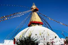 Swayambhunath STUPA是在小山上面的古老宗教建筑学在加德满都谷地尼泊尔 免版税库存图片