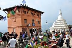 Tempel in Swayambhunath Stock Afbeeldingen