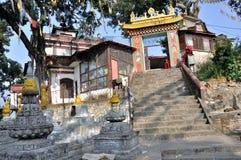 Tempel in Swayambhunath Stock Foto's