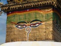 Swayambhunath Stupa, Kathmandu. Buddhist symbold on Stupa at Monkey Temple royalty free stock images