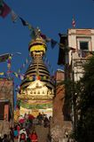 Swayambhunath Stupa in Kathmandu, Nepal. This is Swayambhunath Stupa in Kathmandu, Nepal. Visitors need to climb a large number of stairs to reach it, which is Royalty Free Stock Photography