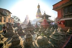Swayambhunath Stupa in Nepal stockbilder