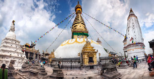 Swayambhunath stupa panorama Royalty Free Stock Photo