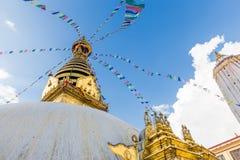 Swayambhunath tempel, apatempel Katmandu, Nepal Arkivfoton