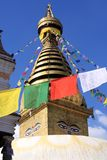 Swayambhunath-Tempel mit Gebets-Flaggen, Kathmandu, Nepal Stockbild
