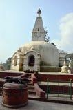 Swayambhunath-Tempel oder Affe-Tempel mit Klugheit mustert Stockfotografie
