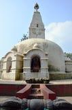 Swayambhunath-Tempel oder Affe-Tempel mit Klugheit mustert Stockfotos