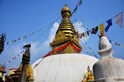 Swayambhunath Temple or Monkey Temple with Buddha eyes at Kathmandu Nepal Stock Image