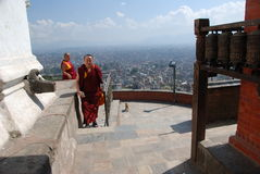 Swayambhunath temple in Nepal Stock Photos