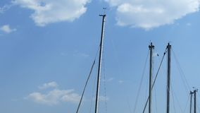 Swaying sailboat masts and cloudy sky - Ohrid, Macedonia. Sailboats masts without sails anchored in the port of Ohrid. They sway blown by the wind. Cloudy sky in stock footage