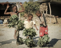 Swazi dancing children. Three african children happily dancing. Swaziland Royalty Free Stock Photo