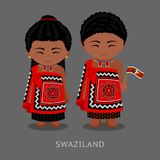 Swazi people in national clothes with a flag. Man and woman in traditional costume. Travel to Swaziland. Kingdom of Eswatini. Vector flat illustration Royalty Free Illustration
