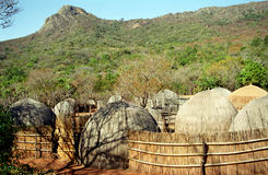 Swazi village, Swaziland. Traditional Swazi hut in the countryside of Swaziland Royalty Free Stock Image