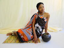 Swazi woman. Sitting posing with calabash Stock Photos