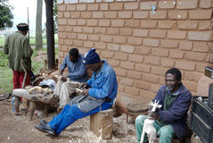 Swazi wood carvers Royalty Free Stock Images