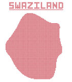 Swaziland Africa Dot Map Royalty Free Stock Photography