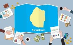 Swaziland Africa gospodarki kraju narodu wzrostowa drużyna dyskutuje z fałd map widokiem od wierzchołka Fotografia Stock