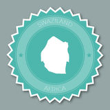 Swaziland badge flat design. Round flat style sticker of trendy colors with country map and name. Country badge vector illustration stock photos