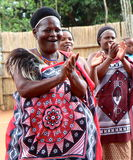 Swaziland chief. In this Swaziland village, the chief is a woman which tells tourists about village traditions stock images