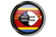 Swaziland flag in the button pin Isolated on White Background Royalty Free Stock Photos