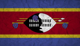 Swaziland flag with the effect of crumpled paper and grunge Royalty Free Stock Photos