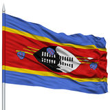 Swaziland Flag on Flagpole Stock Photography