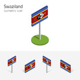 Swaziland flag, vector 3D isometric flat icons. Swaziland flag Kingdom of Swaziland, vector set of isometric flat icons, 3D style. African country flags Royalty Free Stock Photos