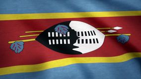 Swaziland grunge flag waving seamless loop. Swazi loopable dirty flag with highly detailed fabric texture. Flag of stock illustration