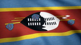 Swaziland grunge flag waving seamless loop. Swazi loopable dirty flag with highly detailed fabric texture. Flag of. Swaziland with fabric texture, seamless loop Stock Image