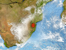 Swaziland on map with clouds Stock Image