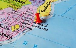 Swaziland map. Macro shot of swaziland map with push pin Royalty Free Stock Image