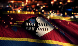 Swaziland National Flag Light Night Bokeh Abstract Background Royalty Free Stock Images