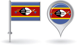 Swaziland pin icon and map pointer flag. Vector Stock Image