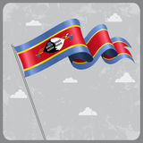 Swaziland wavy flag. Vector illustration. Stock Images