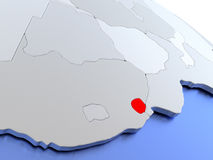 Swaziland on world map Stock Images