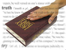 Swearing on the Bible. A photo of a woman swearing on the bible, a truth theme Royalty Free Stock Photography