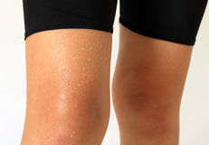 Sweat on body of woman ,exercise Royalty Free Stock Images
