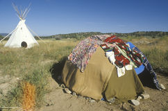 Sweat Lodge and teepee. In a sunny day royalty free stock photo